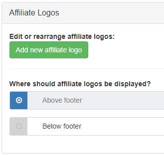 Affiliate logo controls