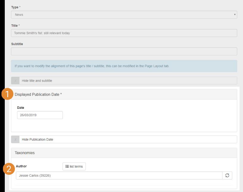 article metadata input labelled