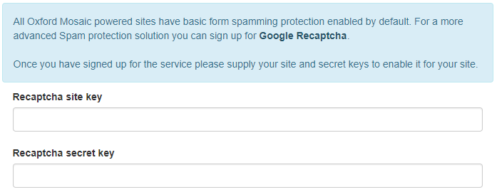 Form spam protection tab