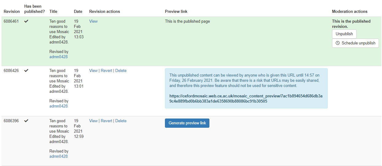 draft preview link generated in a page's moderation table
