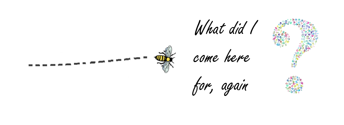 The image shows a bee stopping in mid-flight with text 'What did I come here for, again?', to illustrate how a server process can time-out when there is inadequate memory.