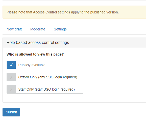 Screenshot of options for Role based access control settings