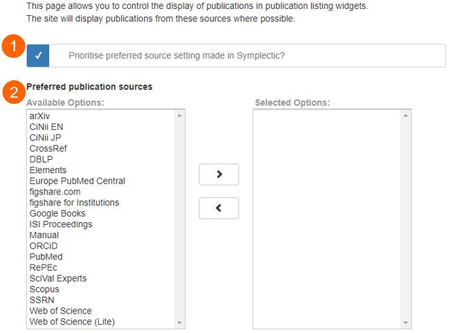 Publications source selection