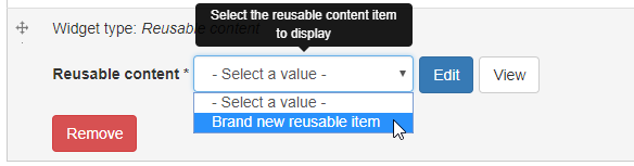 reusable content widget - item selection