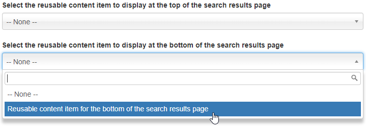 search results page content selection