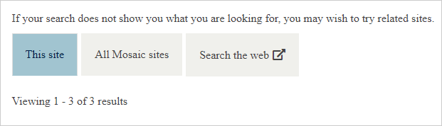 three search scopes on the search results page