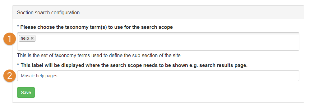 creating a section search scope