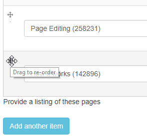 reordering selected content items