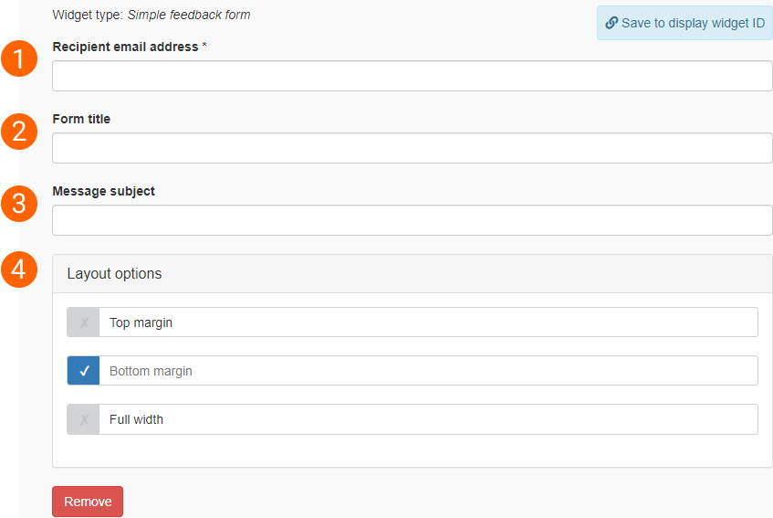 Simple feedback form widget edit form