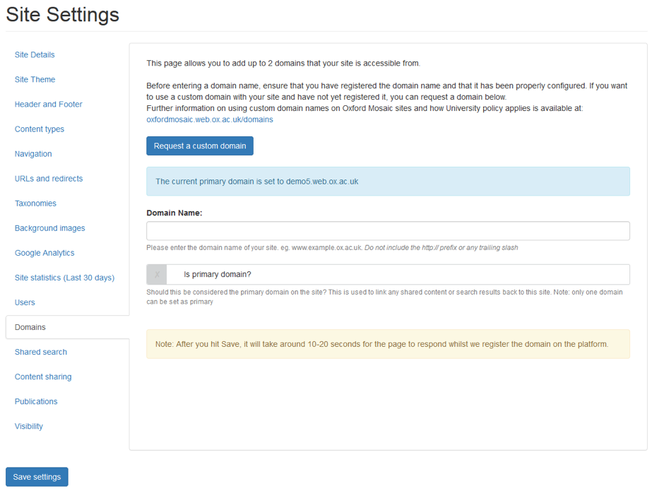 screenshot of the Domains section within Site Settings.