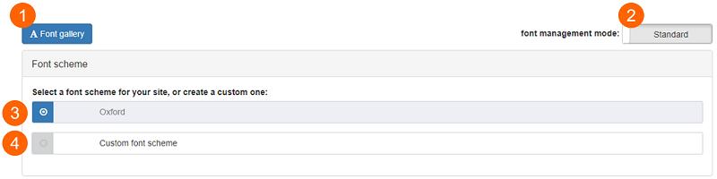 Font settings - Initial screen
