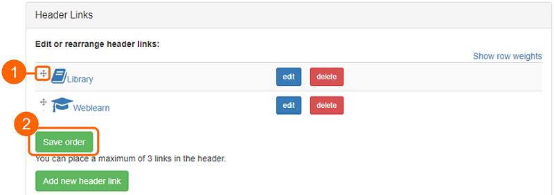 Header link configuration