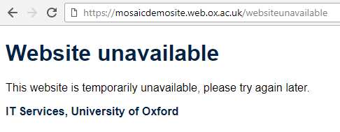 Website temporarily unavailable message