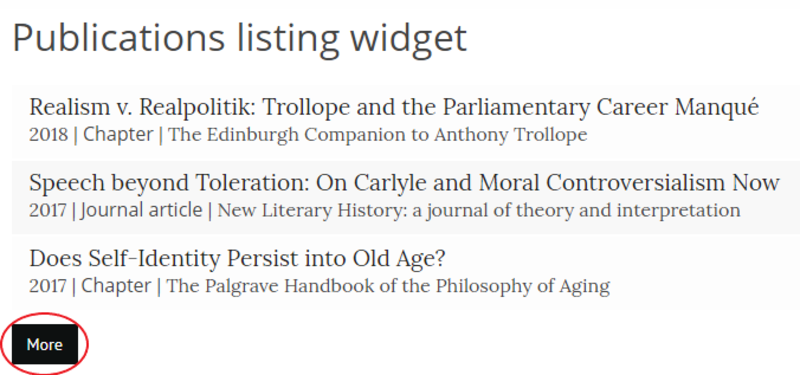 Screenshot of Publications listing widget with 'More' button circled