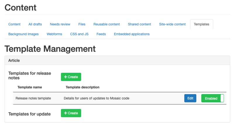 Screenshot of the Template Management page