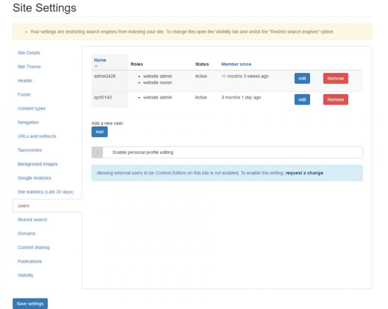 Screenshot: site settings, main menu
