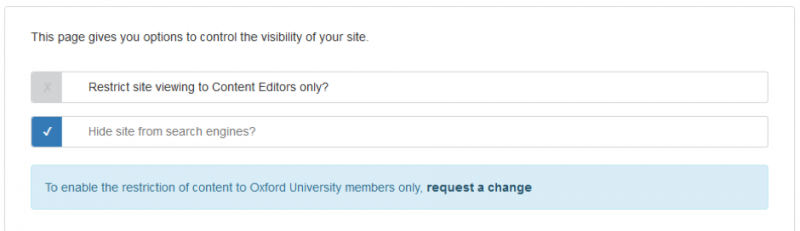 screenshot of the visibility tab in site settings