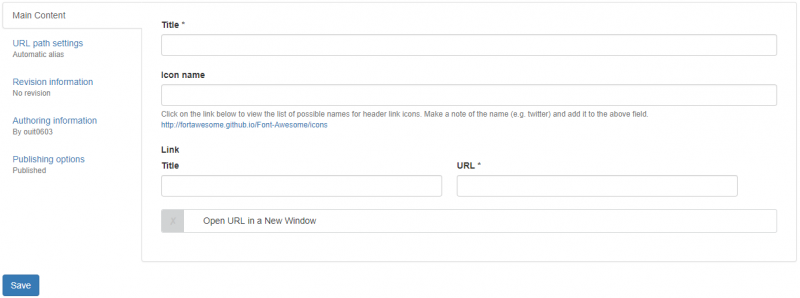 Create new header link form