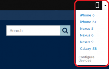 Screenshot of the mobile device preview dropdown