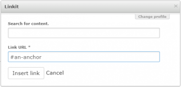 Entering an anchor ID into the Link URL field in the Linkit modal